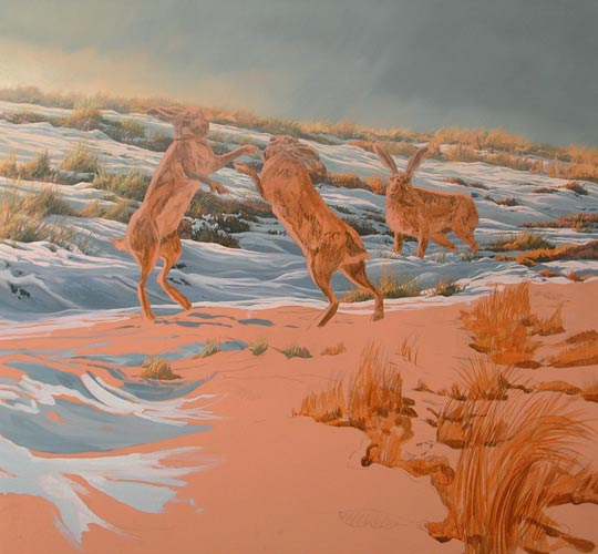 Brown Hare Picture Original Oil Painting Of Hares In Snow