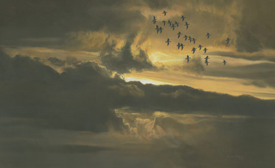Flock of geese at sunset - oil painting for sale